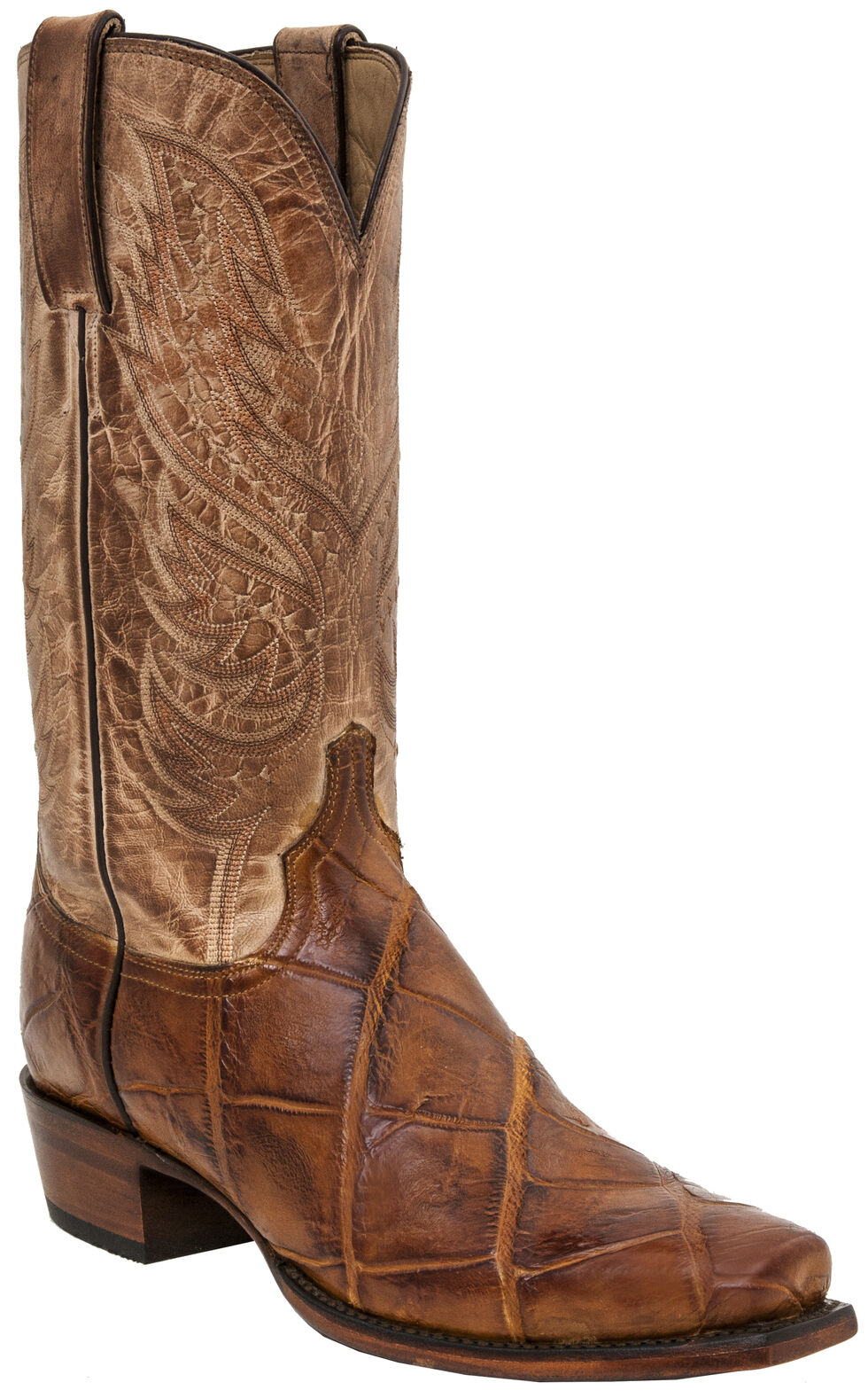 Lucchese Men's Handmade Rex Alligator Western Boots - Square Toe, Brandy, hi-res