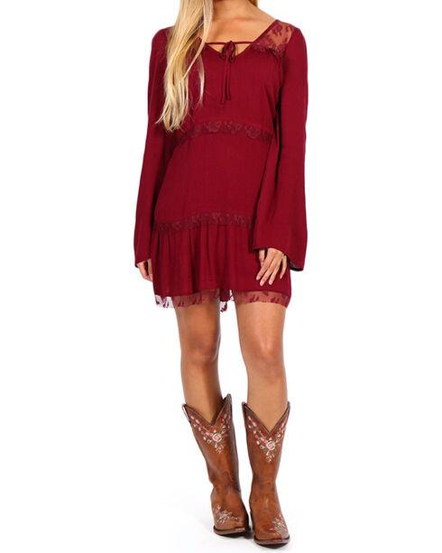 Shyanne Women's Burgundy Lace Tier Bell Sleeve Dress, Burgundy, hi-res