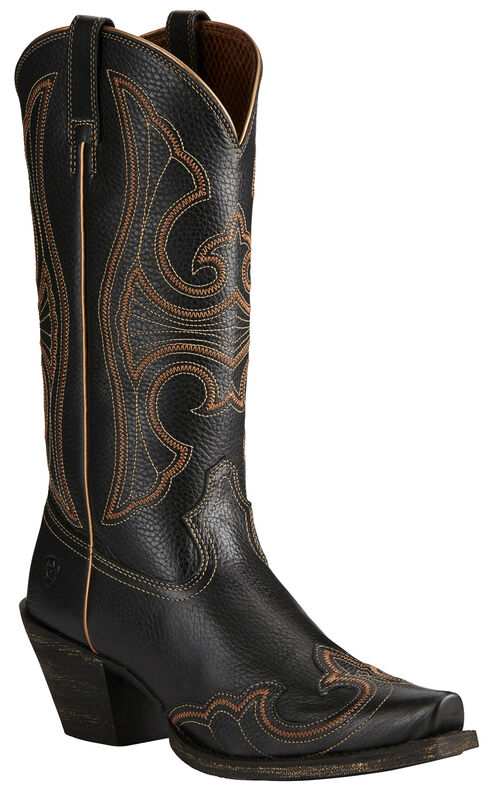 Ariat Black Round-Up Wingtip Cowgirl Boots - Snip Toe  , Black, hi-res