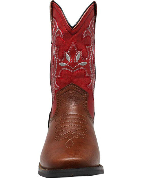 """Ad Tec Girls' 8"""" Pull On Western Boots - Round Toe, Brown, hi-res"""