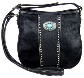 Montana West Black Trinity Ranch Cowhide Collection Handbag, Black, hi-res