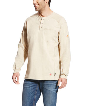 Ariat Men's Sand FR Air Henley Long Sleeve Work Shirt , Sand, hi-res