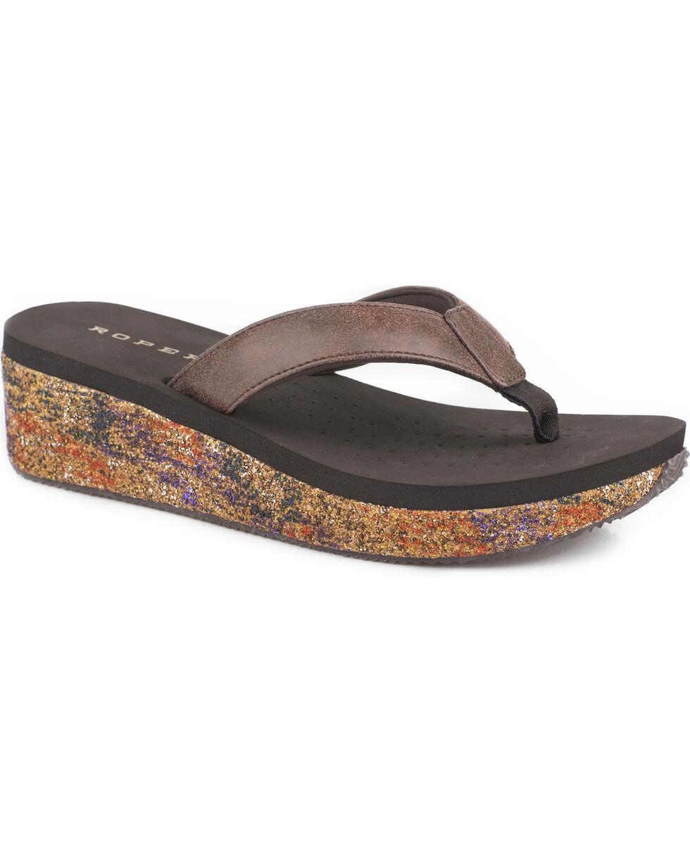 Roper Women's Brown Paint Splash Casual Sandals , , hi-res