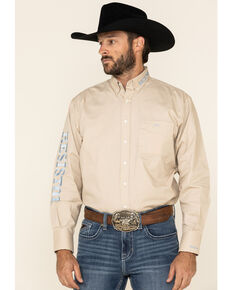 Resistol Men's Tan Harrison Solid Logo Long Sleeve Western Shirt , Tan, hi-res