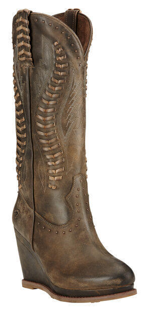 Ariat Dark Chocolate Nashville Wedge Cowgirl Boots - Round Toe , Chocolate, hi-res