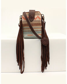 Ariat Women's Serape Fringe Crossbody Cellphone Bag, No Color, hi-res