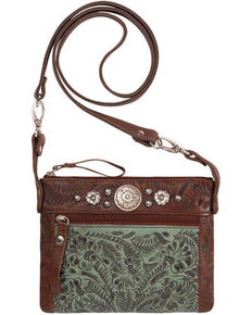 American West Women's Turquoise Trail Rider Crossbody Purse , Turquoise, hi-res