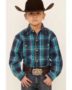 Amarillo Boys' Cool Pines Shadow Plaid Long Sleeve Snap Western Shirt , Teal, hi-res