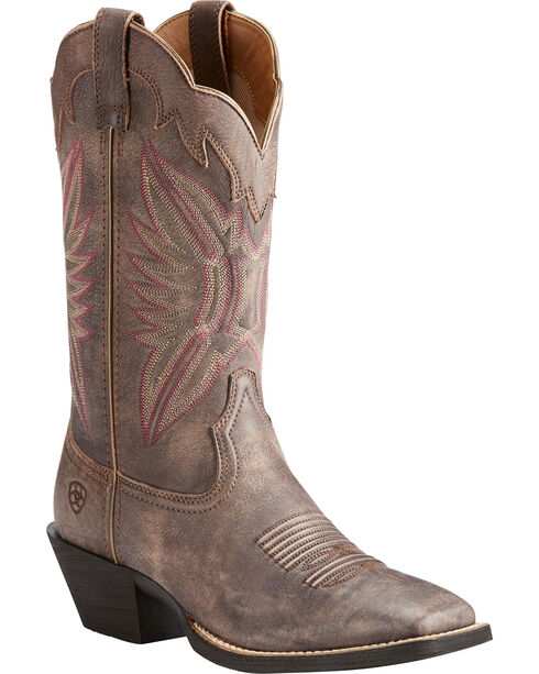 Ariat Women's Chocolate Round Up Outfitter Tack Room Boots - Square Toe , Chocolate, hi-res