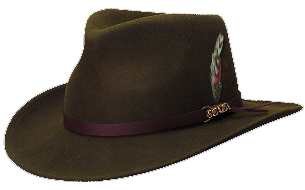 ec73a8d14 Scala Men's Olive Green Crushable Wool Felt Outback Hat