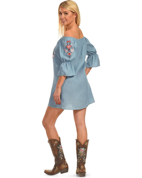 Polagram Women's Off-the-Shoulder Embroidered Denim Mini Dress, Indigo, hi-res