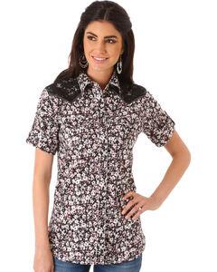 Wrangler Women's Multi Lace Yoke Short Sleeve Shirt , Multi, hi-res