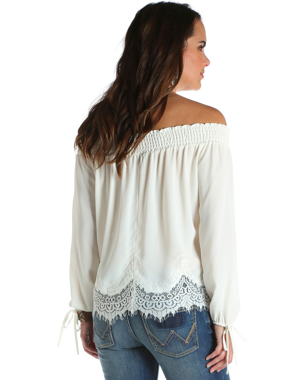 Wrangler Women's Scalloped Lace Off-The-Shoulder Top, Ivory, hi-res