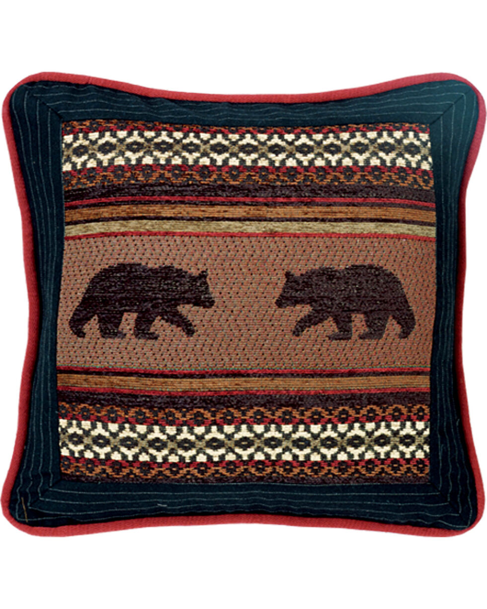 HiEnd Accents Bayfield Square Bear Pillow, Multi, hi-res