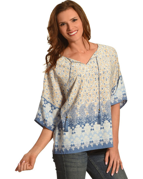 Ruby Road Women's Border Print Extended Sleeve Shirt , Blue, hi-res