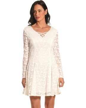 Jody of California Women's Criss Cross Neck White Lace Dress, White, hi-res