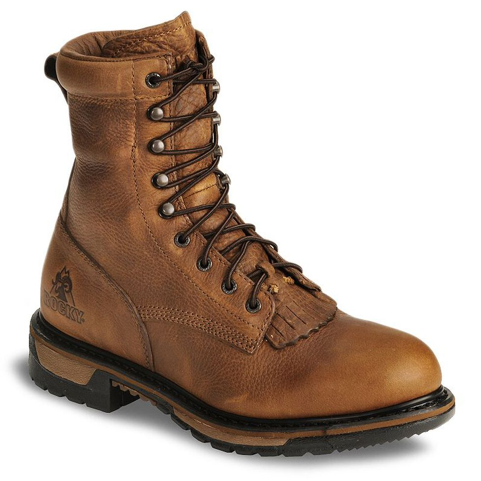 """Rocky Ride 8"""" Lacer Waterproof Western Boots, Tan, hi-res"""