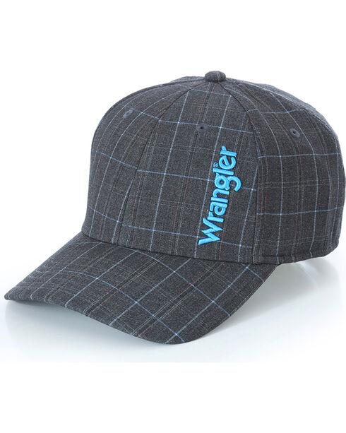 Wrangler Men's FlexFit Plaid Ball Cap, Grey, hi-res