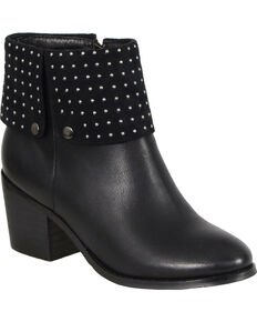 Milwaukee Women's Black Studded Booties - Round Toe , Black, hi-res