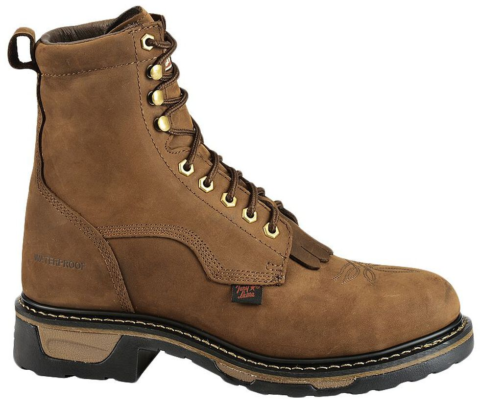 "Tony Lama Waterproof Cheyenne 8"" Lace-Up Work Boots - Steel Toe, Tan, hi-res"