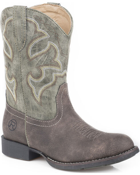 Roper Boys' Classic Western Cowboy Boots - Round Toe, Brown, hi-res