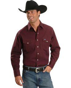 Wrangler Twill Work Shirt - Tall, Burgundy, hi-res
