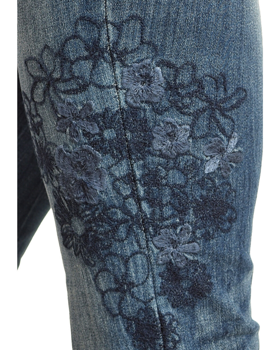 Grace in LA Women's Tonal Floral Embroidered Jeans - Boot Cut , Indigo, hi-res