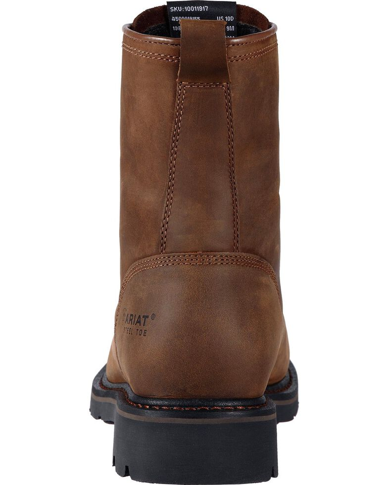 "Ariat Cascade 8"" Lace-Up Work Boots - Square Toe, Brown, hi-res"