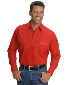Ely Cattleman Men's Solid White Long Sleeve Western Shirt - Big & Tall , Red, hi-res