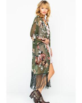 Ariat Women's Floral Velvet Fringe Kimono Duster , Olive, hi-res
