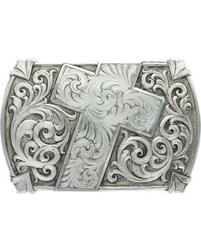 Montana Silversmiths Men's Antiqued Walk of Faith Buckle, Silver, hi-res
