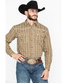 6941ef52a64 Cowboy Hardware Mens Double Diamond Print Long Sleeve Western Shirt