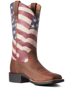 Ariat Women's Round Up Patriot Western Boots - Square Toe, Brown, hi-res