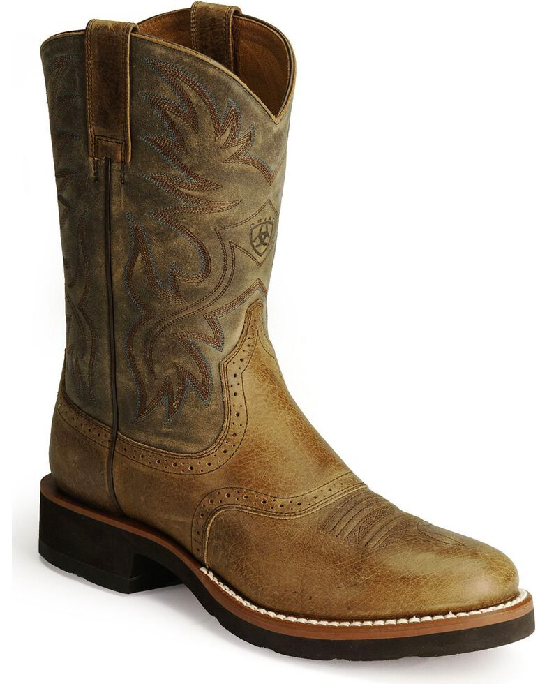 Ariat Men's Heritage Crepe Cowboy Boots - Round Toe, Earth, hi-res