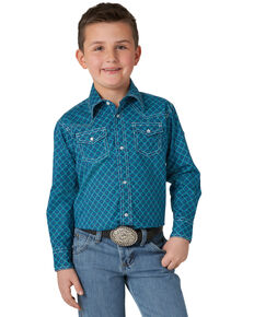 Wrangler 20X Boys' Blue Geo Print Long Sleeve Western Shirt , Blue, hi-res