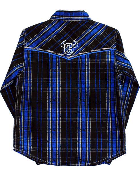 Cowboy Hardware Boys' Distressed Long Sleeve Plaid Shirt, Black, hi-res