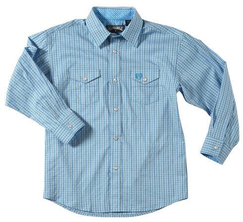 Panhandle Boys' Satin Checkered Shirt , Blue, hi-res