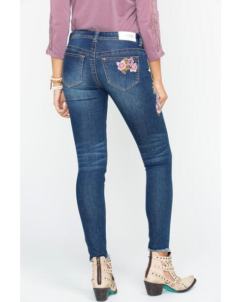 Shyanne Women's Floral Embroidered Frayed Hem Jeans - Skinny, Blue, hi-res