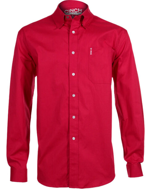 Cinch Men's Modern Fit Long Sleeve Western Shirt , Pink, hi-res