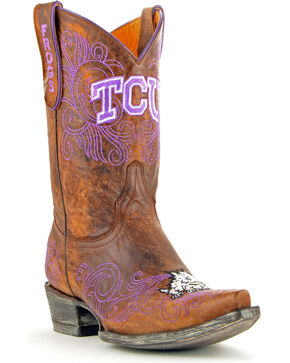 Gameday Texas Christian University Cowgirl Boots - Snip Toe, Brass, hi-res