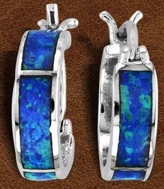 Kelly Herd Sterling Silver Blue Opal Hoop Earrings , Silver, hi-res