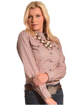 Cinch Women's Pink Diamond Geo Print Shirt , Purple, hi-res