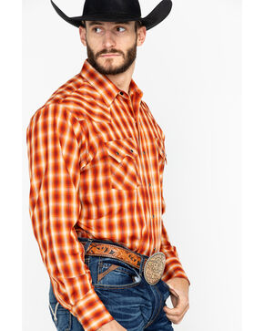 Ely Cattleman Men's Arrowhead Dobby Plaid Long Sleeve Western Shirt - Tall, Rust Copper, hi-res
