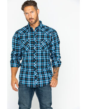 Wrangler Retro Men's Medium Plaid Long Sleeve Western Shirt - Tall , Black/blue, hi-res