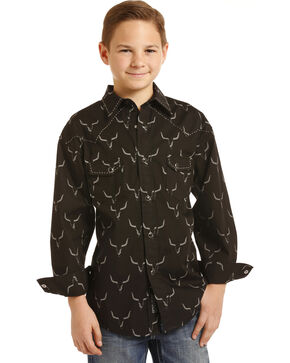 Rock & Roll Cowboy Boys' Steer Print Long Sleeve Snap Shirt, Black, hi-res