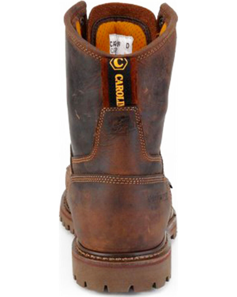 "Carolina Men's 8"" Brown Waterproof Work Boots - Round Toe, Brown, hi-res"