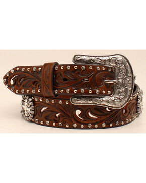 "Ariat 1 1/2"" Embossed Concho Belt, Brown, hi-res"