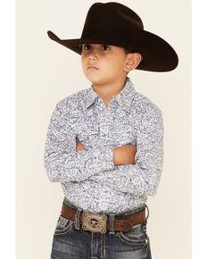 Wrangler 20X Boys' Blue Ditsy Print Long Sleeve Snap Western Shirt , Blue, hi-res