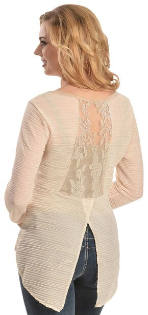 Petrol Glittery Sheer Lace Back Top, Ivory, hi-res