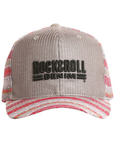 Rock & Roll Cowboy Men's Aztec Logo Embroidered Mesh Cap , Grey, hi-res